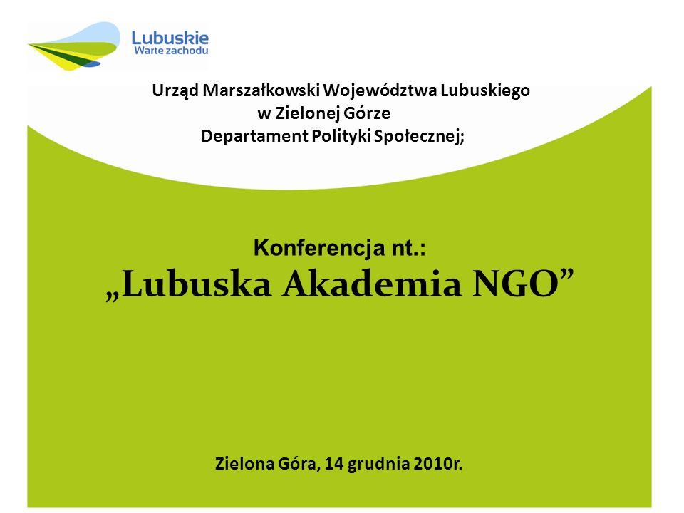 """Departament Polityki Społecznej; """"Lubuska Akademia NGO"""