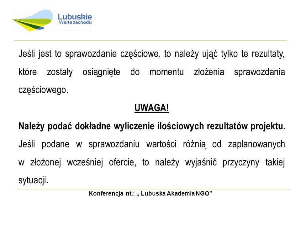 """Konferencja nt.: """" Lubuska Akademia NGO"""