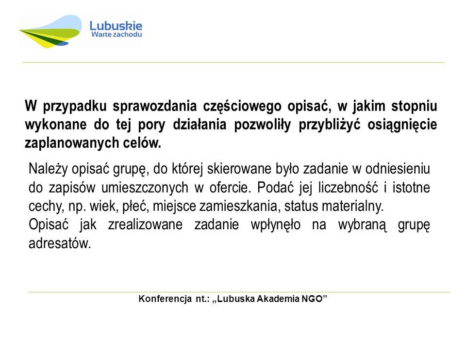 """Konferencja nt.: """"Lubuska Akademia NGO"""