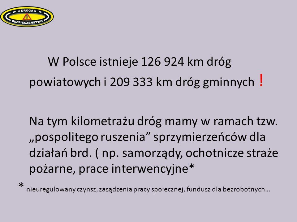 W Polsce istnieje 126 924 km dróg powiatowych i 209 333 km dróg gminnych .