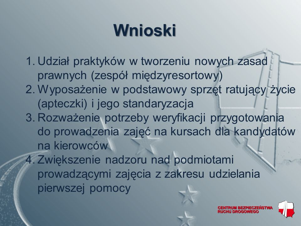 Wnioski Udział praktyków w tworzeniu nowych zasad prawnych (zespół międzyresortowy)