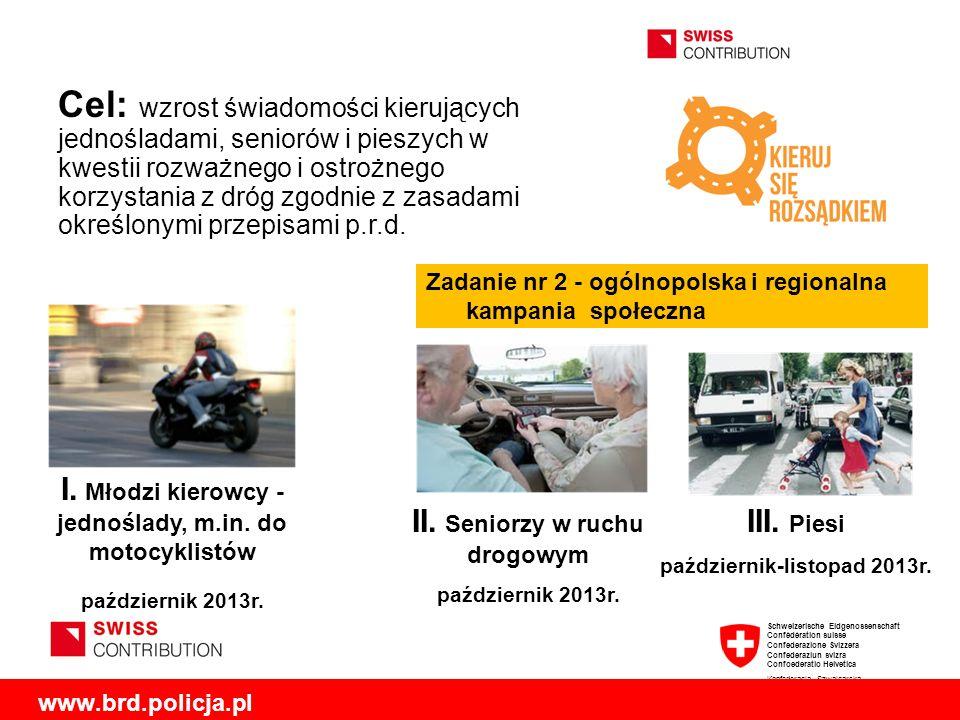 Cel: wzrost świadomości kierujących jednośladami, seniorów i pieszych w kwestii rozważnego i ostrożnego korzystania z dróg zgodnie z zasadami