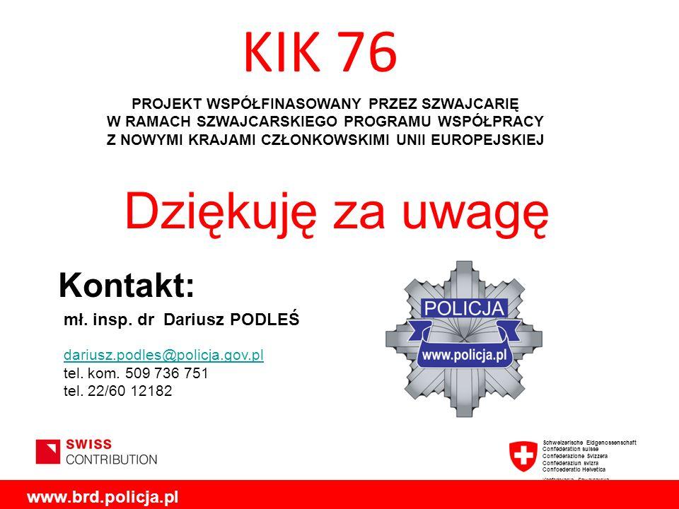KIK 76 Dziękuję za uwagę Kontakt: mł. insp. dr Dariusz PODLEŚ