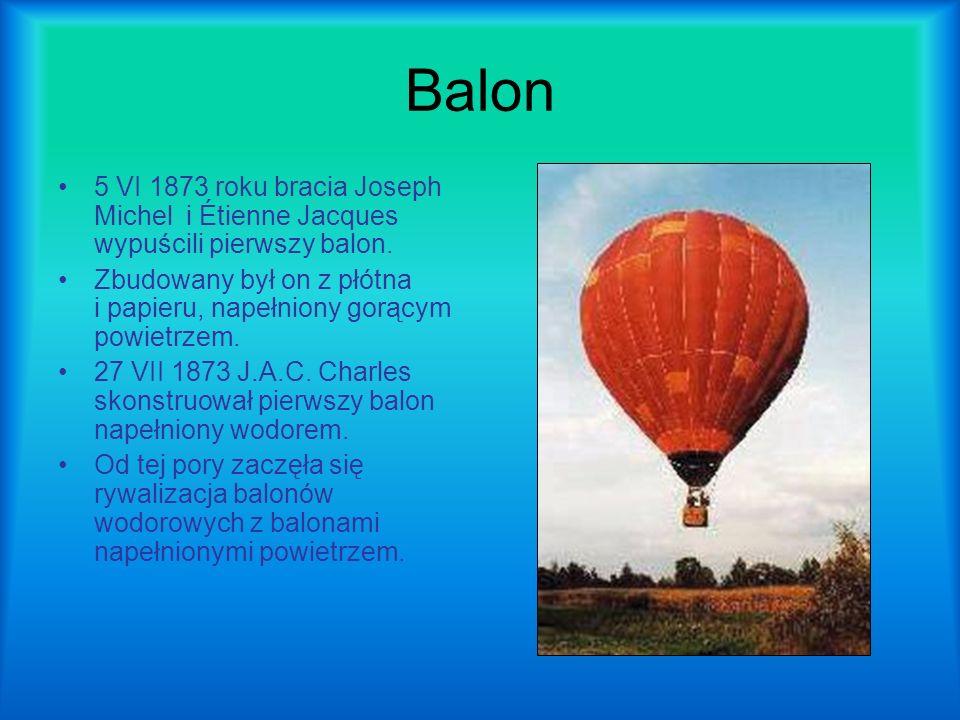 Balon 5 VI 1873 roku bracia Joseph Michel i Étienne Jacques wypuścili pierwszy balon.