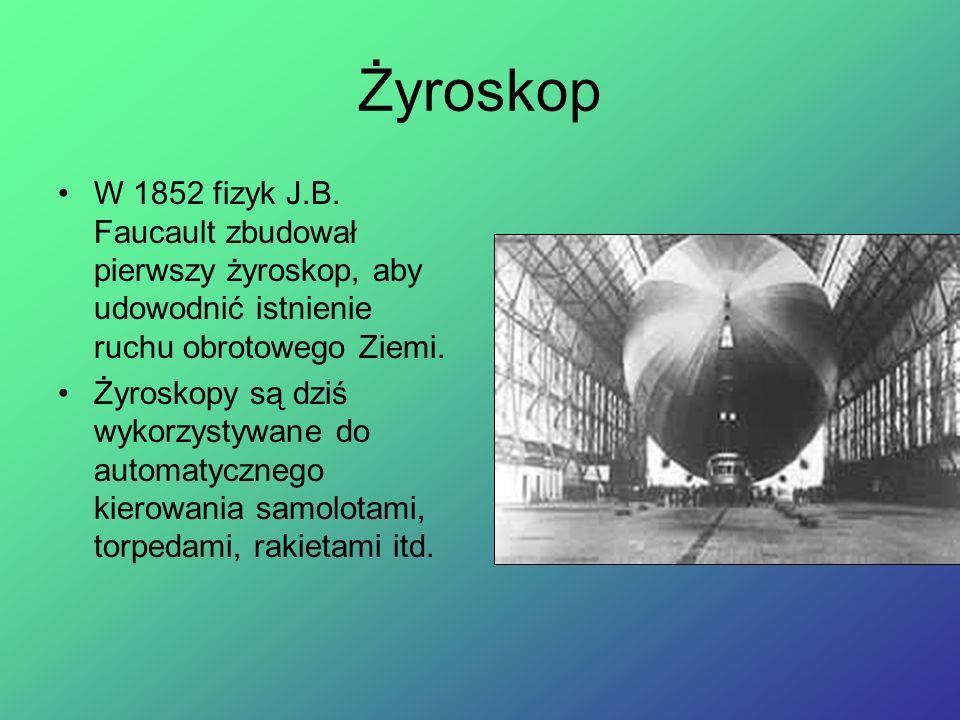 Żyroskop W 1852 fizyk J.B. Faucault zbudował pierwszy żyroskop, aby udowodnić istnienie ruchu obrotowego Ziemi.