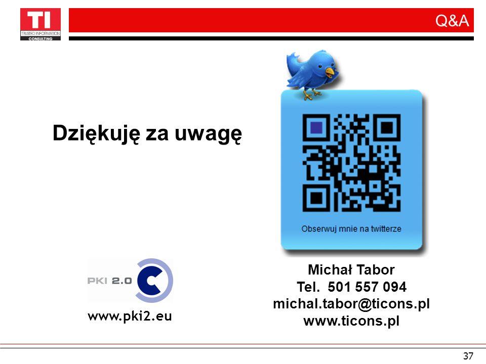 Dziękuję za uwagę Q&A Michał Tabor Tel. 501 557 094
