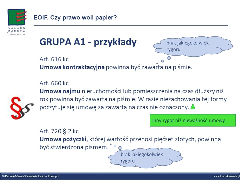 GRUPA A1 - przykłady Art. 616 kc