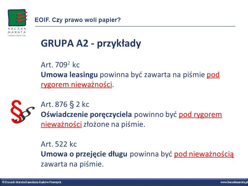 GRUPA A2 - przykłady Art. 7092 kc