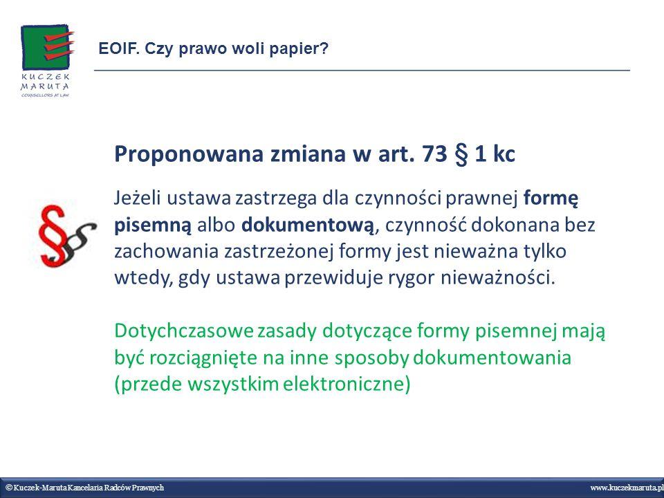 Proponowana zmiana w art. 73 § 1 kc