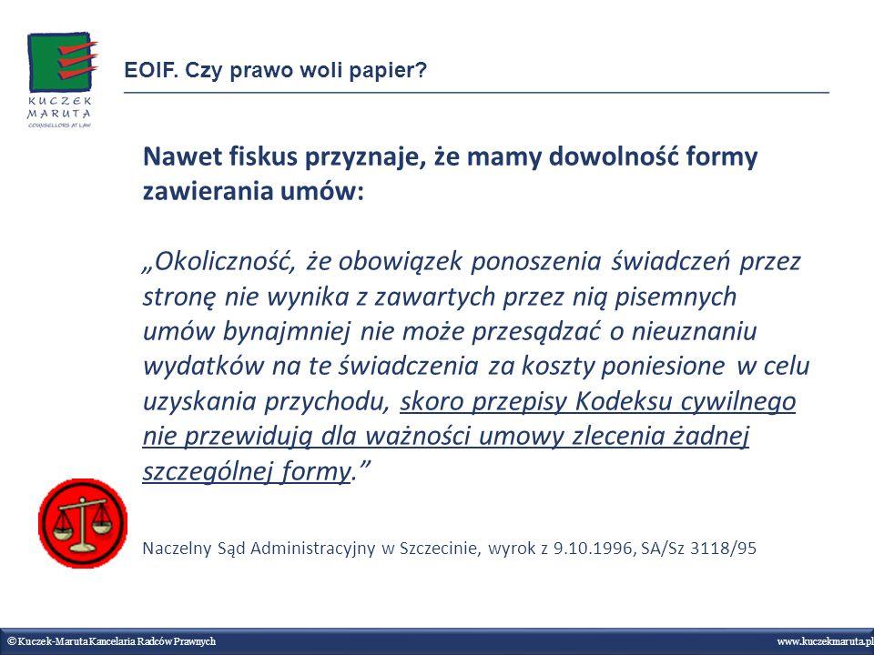 Nawet fiskus przyznaje, że mamy dowolność formy zawierania umów: