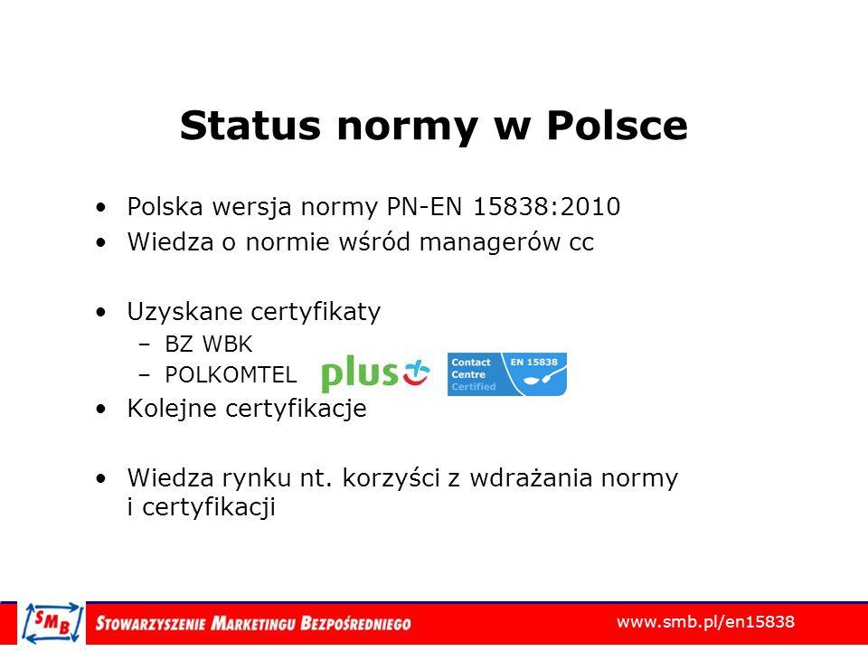 Status normy w Polsce Polska wersja normy PN-EN 15838:2010