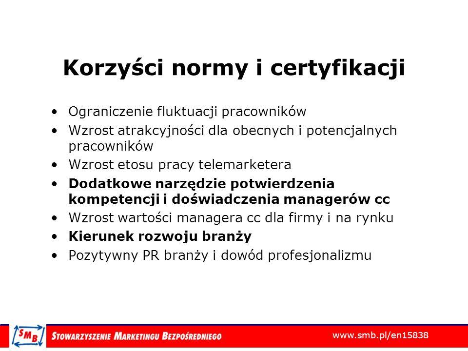 Korzyści normy i certyfikacji