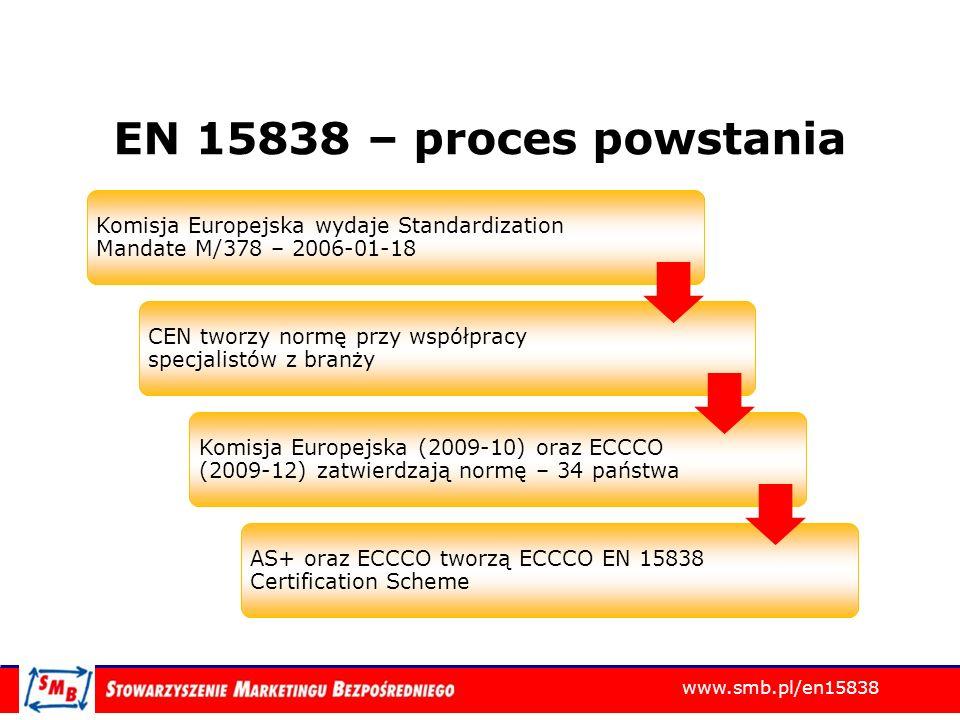 EN 15838 – proces powstania Komisja Europejska wydaje Standardization Mandate M/378 – 2006-01-18.