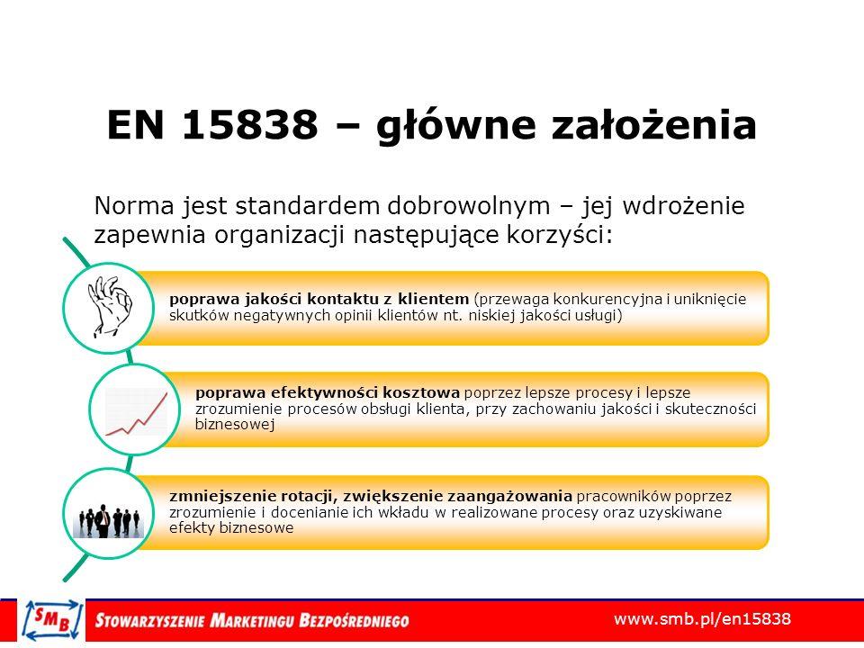 EN 15838 – główne założenia Norma jest standardem dobrowolnym – jej wdrożenie zapewnia organizacji następujące korzyści: