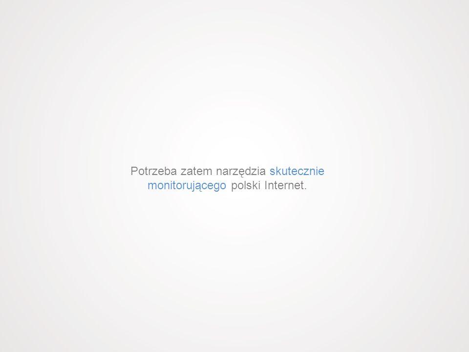 Potrzeba zatem narzędzia skutecznie monitorującego polski Internet.