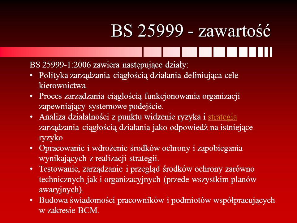 BS 25999 - zawartość BS 25999-1:2006 zawiera następujące działy: