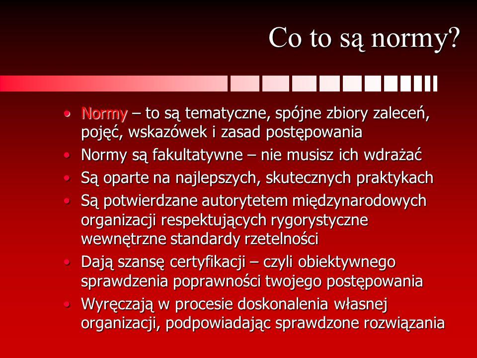 Co to są normy Normy – to są tematyczne, spójne zbiory zaleceń, pojęć, wskazówek i zasad postępowania.