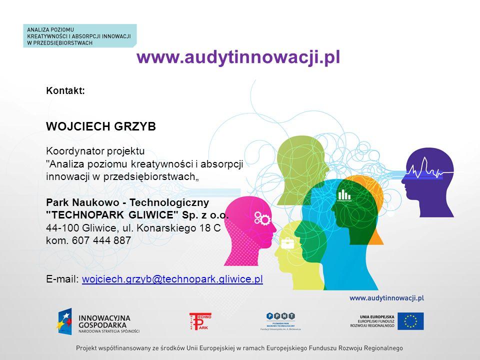 www.audytinnowacji.pl WOJCIECH GRZYB Koordynator projektu