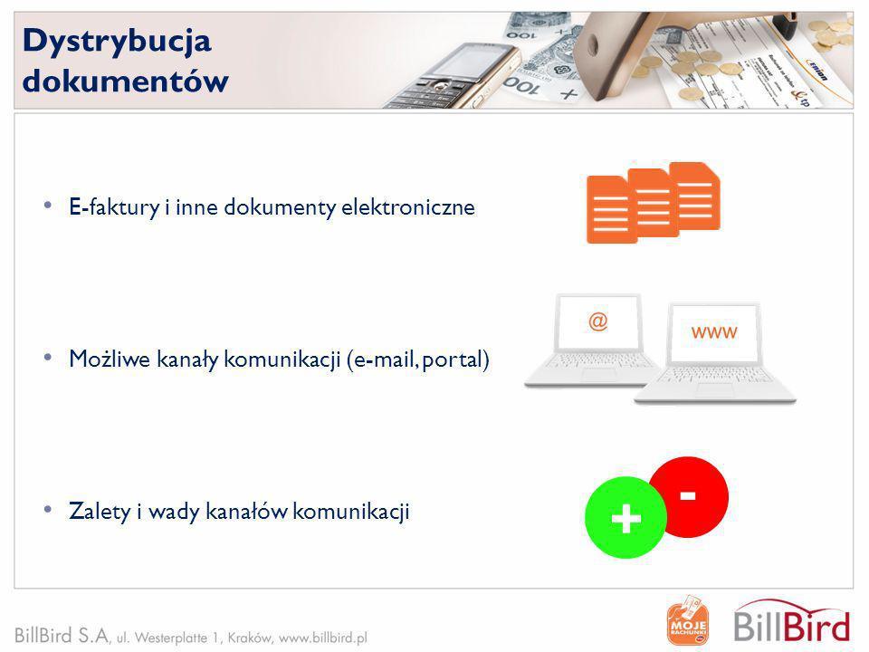- + Dystrybucja dokumentów E-faktury i inne dokumenty elektroniczne