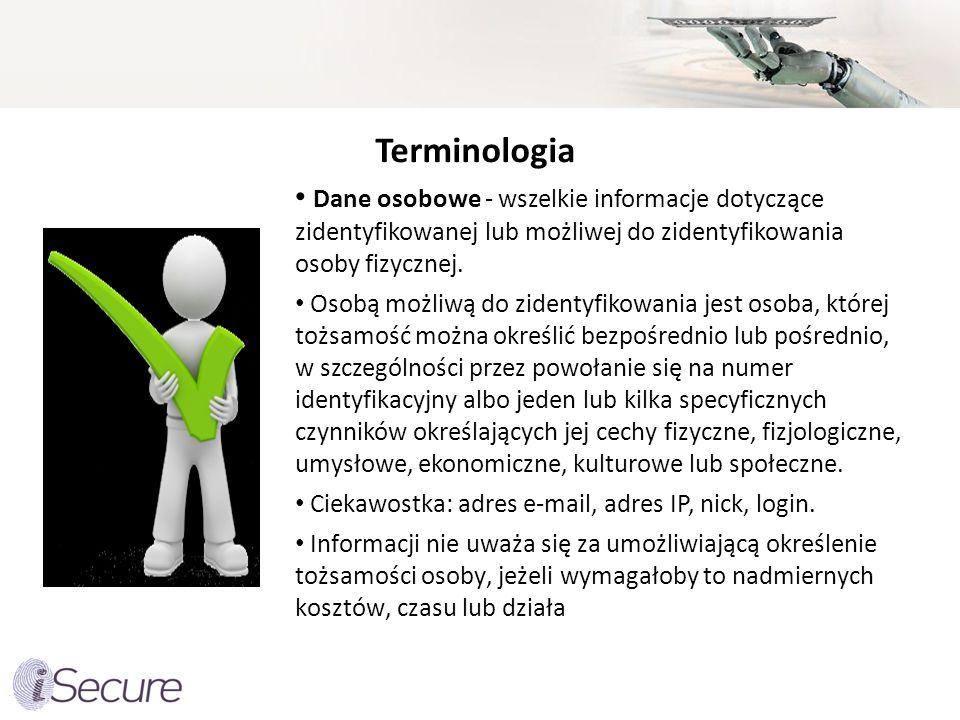 Terminologia Dane osobowe - wszelkie informacje dotyczące zidentyfikowanej lub możliwej do zidentyfikowania osoby fizycznej.