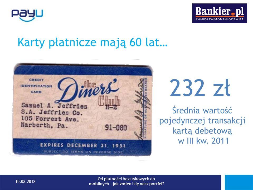 232 zł Karty płatnicze mają 60 lat… Średnia wartość