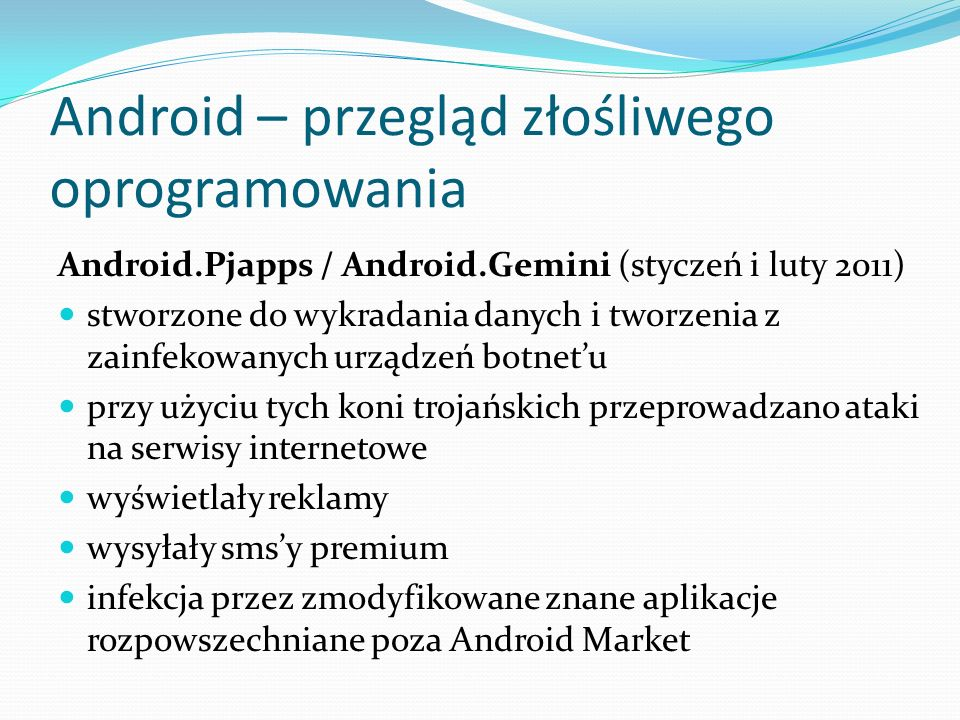 Android – przegląd złośliwego oprogramowania