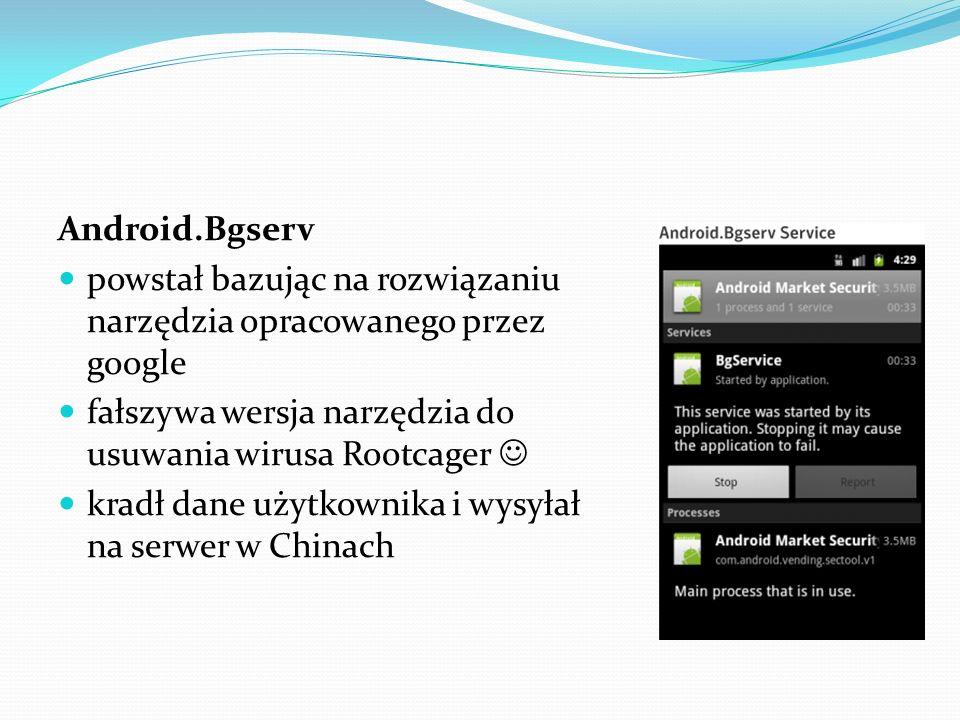 Android.Bgserv powstał bazując na rozwiązaniu narzędzia opracowanego przez google. fałszywa wersja narzędzia do usuwania wirusa Rootcager 