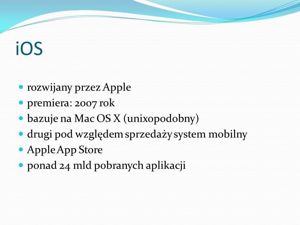 iOS rozwijany przez Apple premiera: 2007 rok