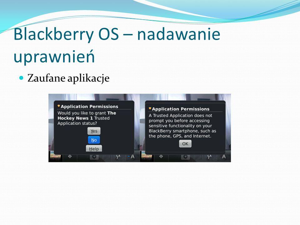 Blackberry OS – nadawanie uprawnień