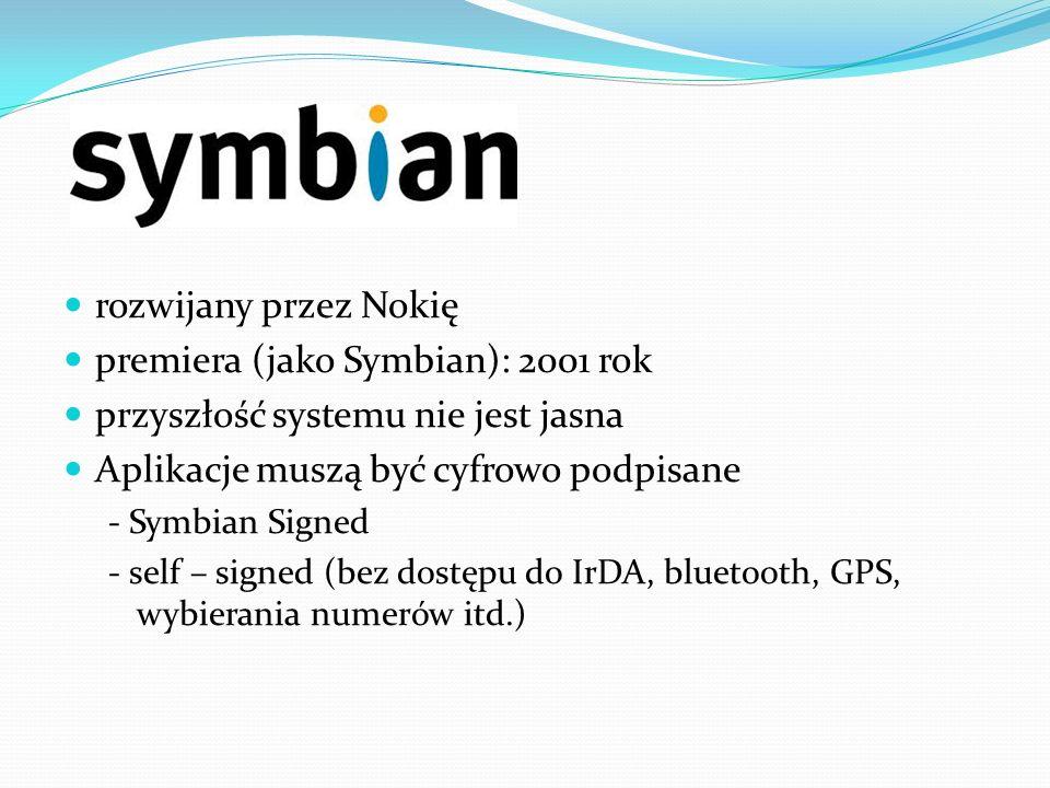 premiera (jako Symbian): 2001 rok przyszłość systemu nie jest jasna