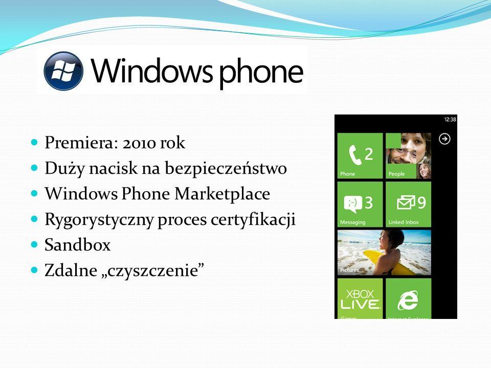 Premiera: 2010 rok Duży nacisk na bezpieczeństwo. Windows Phone Marketplace. Rygorystyczny proces certyfikacji.