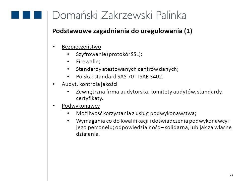 Podstawowe zagadnienia do uregulowania (1)