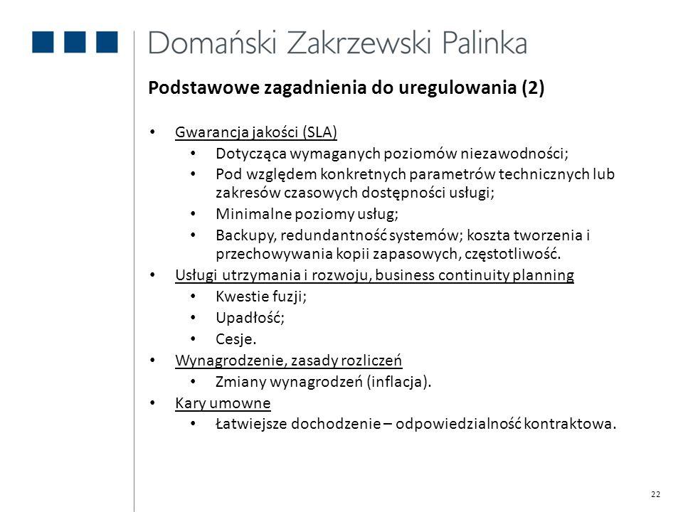 Podstawowe zagadnienia do uregulowania (2)