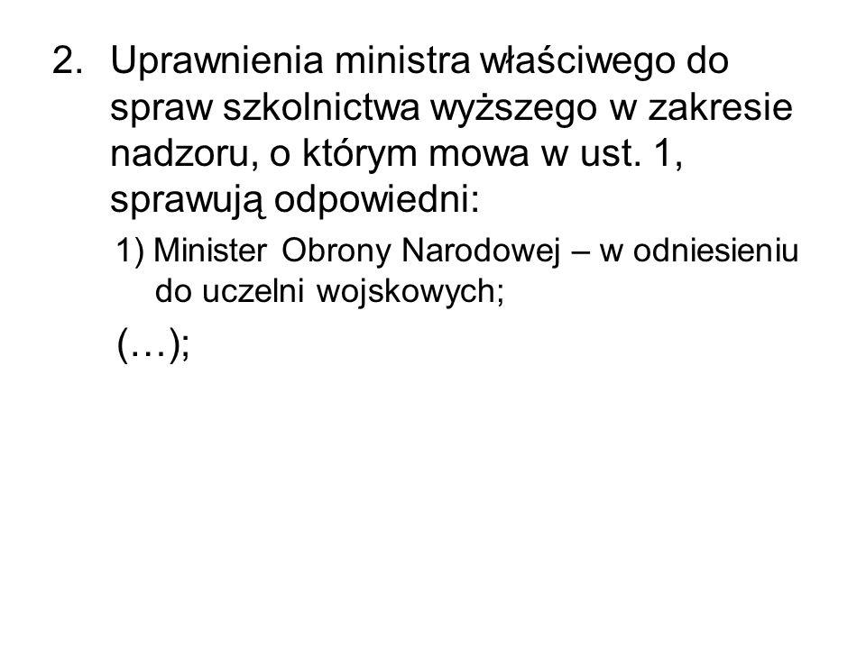 Uprawnienia ministra właściwego do spraw szkolnictwa wyższego w zakresie nadzoru, o którym mowa w ust. 1, sprawują odpowiedni: