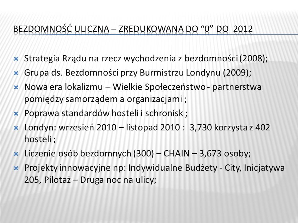 Bezdomność uliczna – zredukowana do 0 do 2012