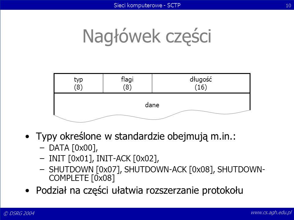 Nagłówek części Typy określone w standardzie obejmują m.in.:
