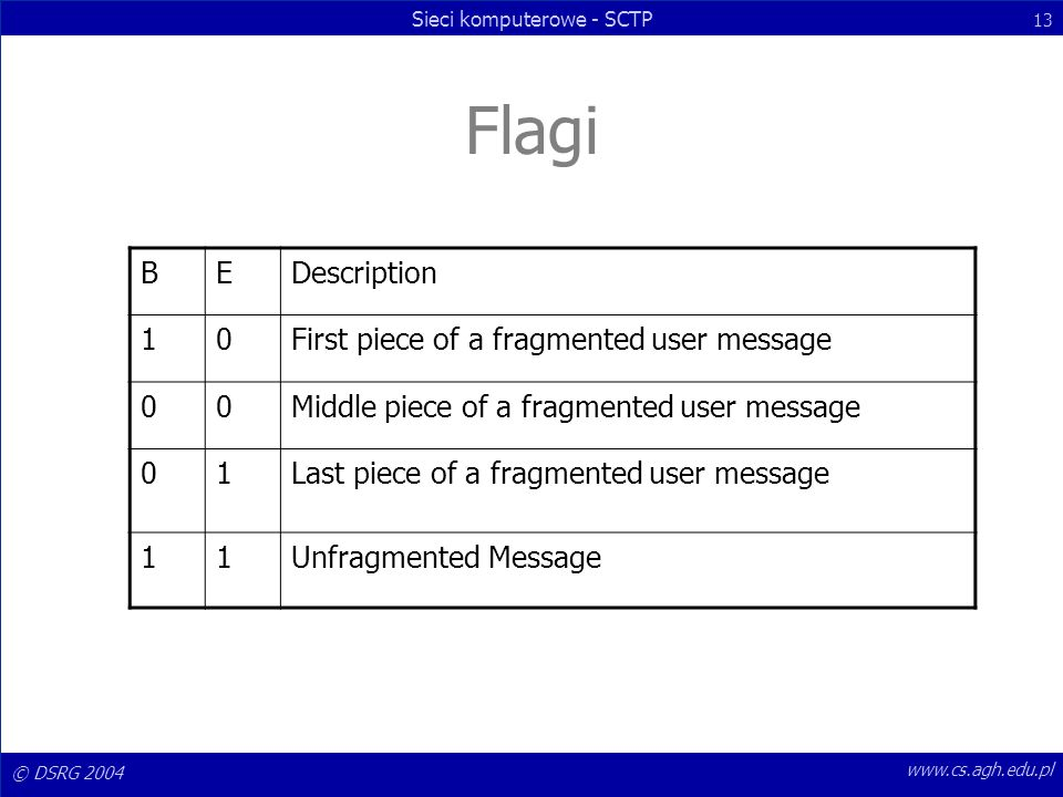 Flagi B E Description 1 First piece of a fragmented user message