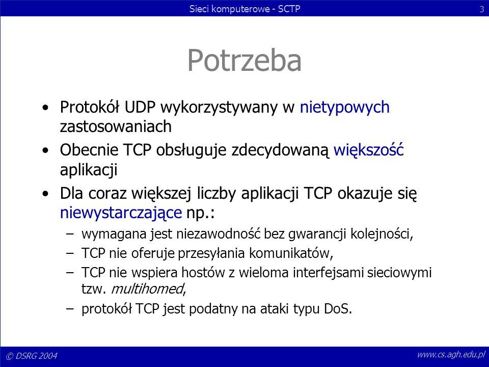 Potrzeba Protokół UDP wykorzystywany w nietypowych zastosowaniach