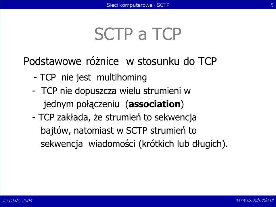 SCTP a TCP Podstawowe różnice w stosunku do TCP