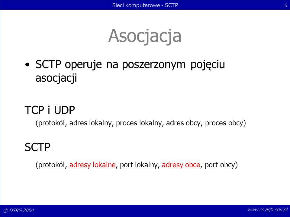 Asocjacja SCTP operuje na poszerzonym pojęciu asocjacji TCP i UDP SCTP