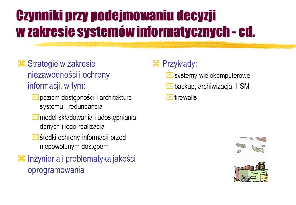 Czynniki przy podejmowaniu decyzji w zakresie systemów informatycznych - cd.