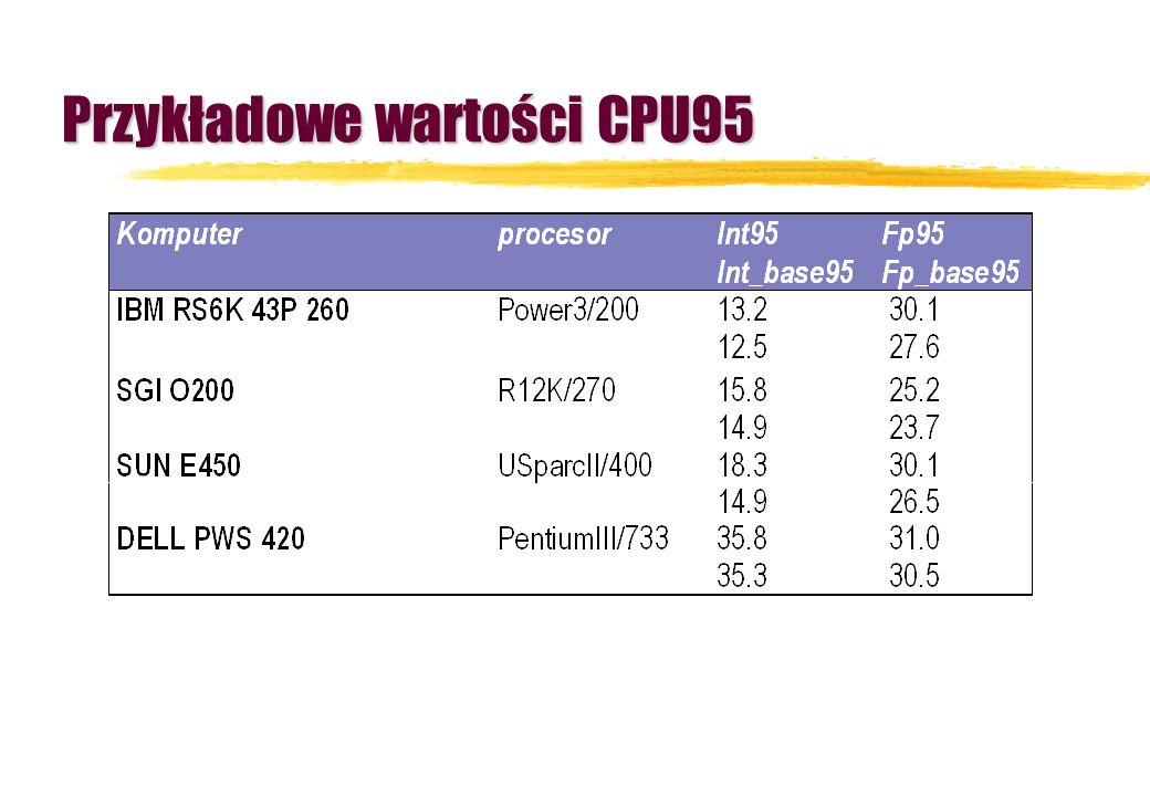 Przykładowe wartości CPU95