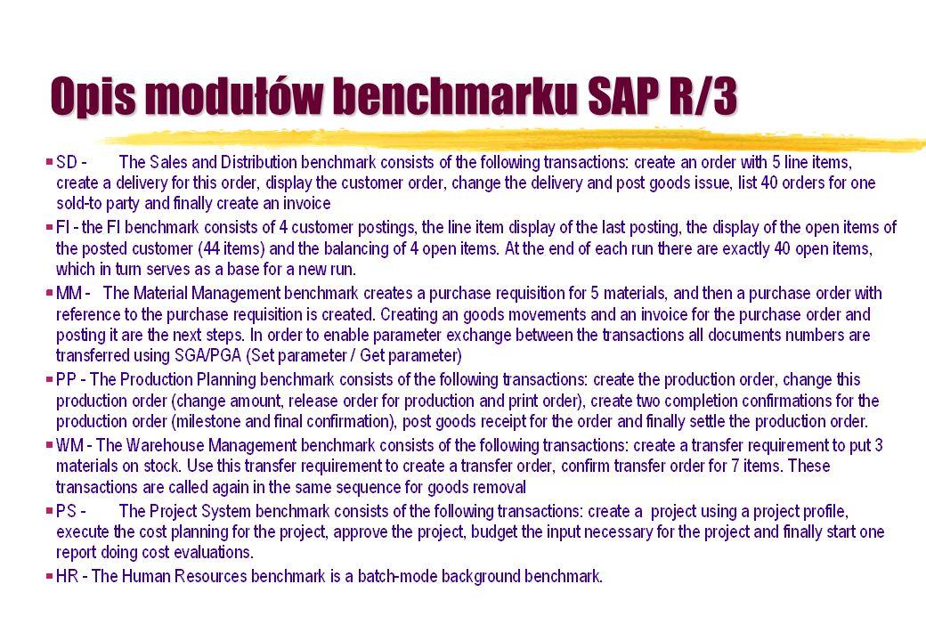 Opis modułów benchmarku SAP R/3
