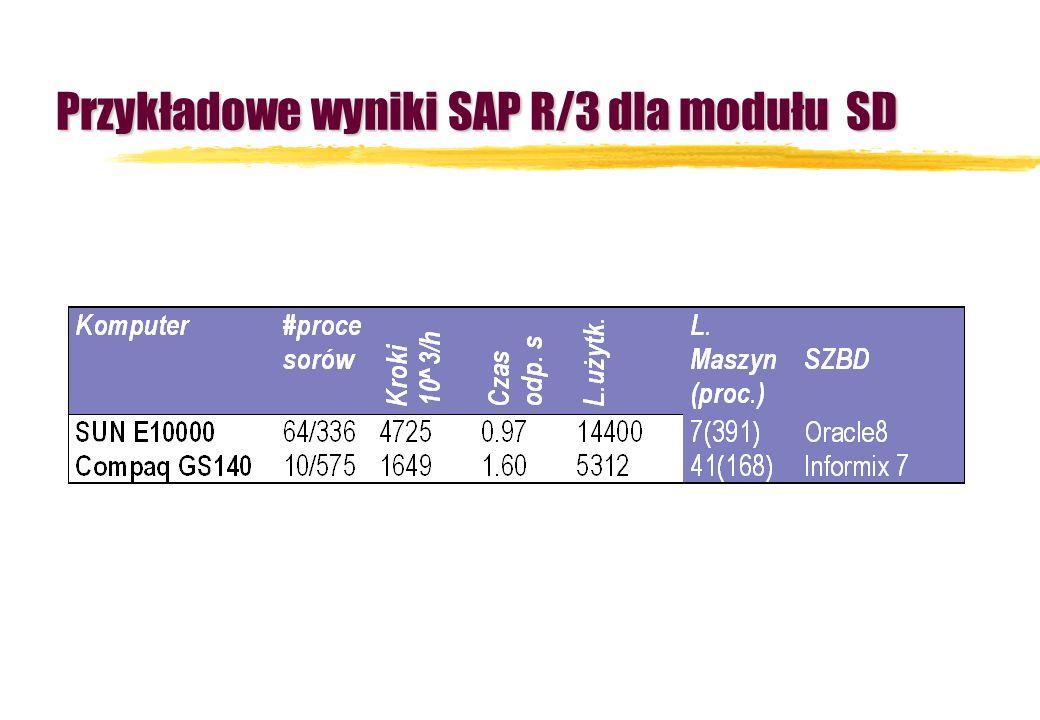 Przykładowe wyniki SAP R/3 dla modułu SD