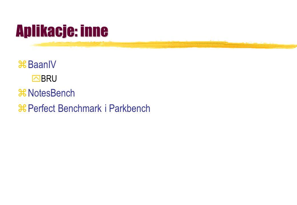 Aplikacje: inne BaanIV BRU NotesBench Perfect Benchmark i Parkbench