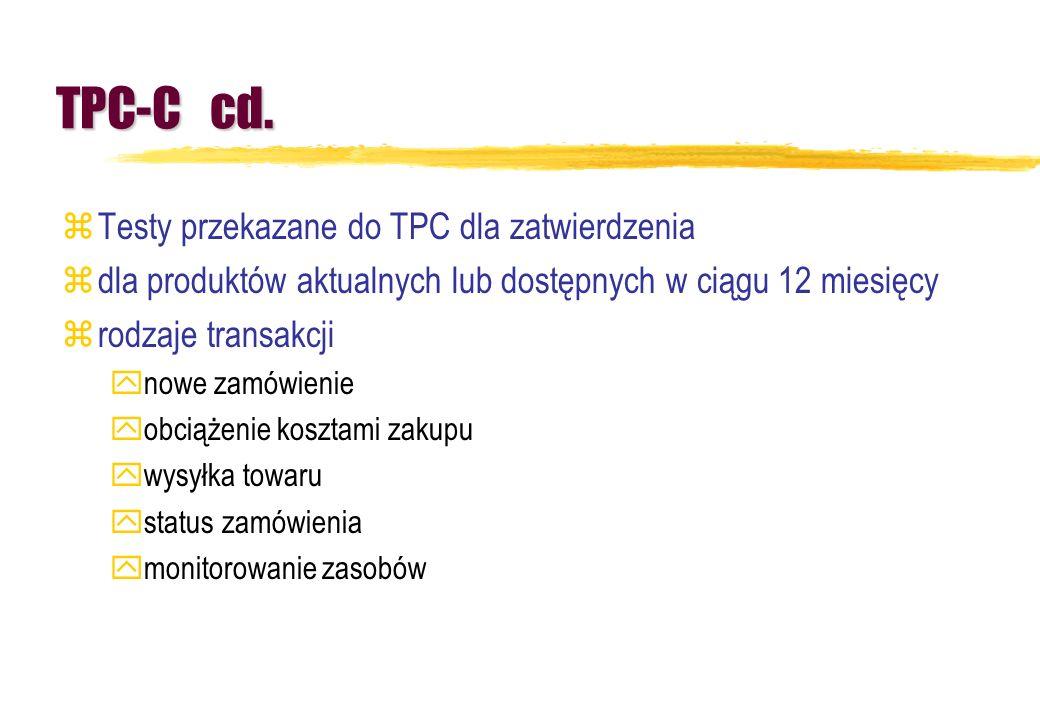 TPC-C cd. Testy przekazane do TPC dla zatwierdzenia