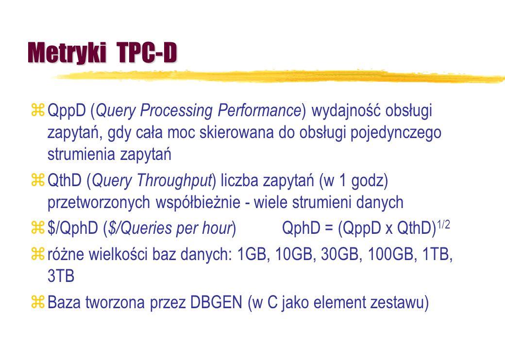 Metryki TPC-D QppD (Query Processing Performance) wydajność obsługi zapytań, gdy cała moc skierowana do obsługi pojedynczego strumienia zapytań.
