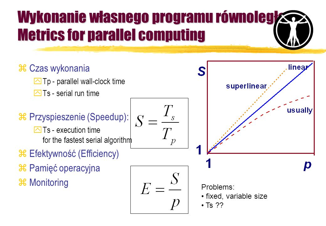 Wykonanie własnego programu równoległego Metrics for parallel computing