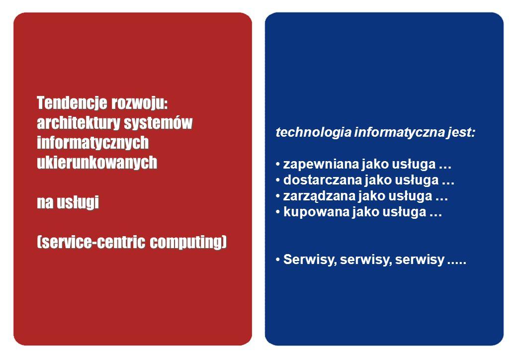 Tendencje rozwoju: architektury systemów informatycznych ukierunkowanych na usługi (service-centric computing)