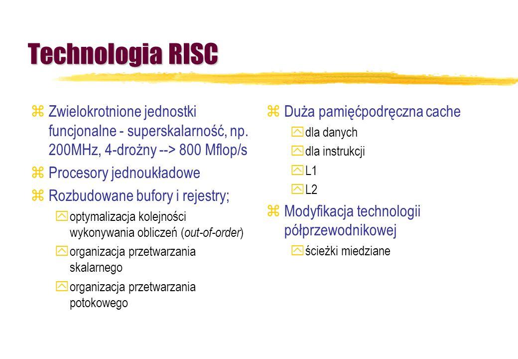 Technologia RISCZwielokrotnione jednostki funcjonalne - superskalarność, np. 200MHz, 4-drożny --> 800 Mflop/s.